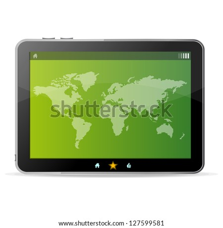 Vector Black tablet on white background and world map - stock vector