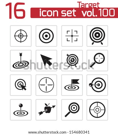 Vector black  target  icons set - stock vector