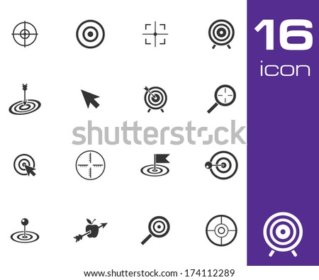Vector black target icons set on white background - stock vector