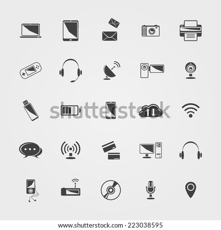 Vector black Technology icons set