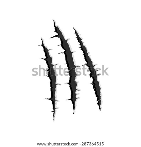 Vector black three vertical trace of monster claw, hand scratch ,rip through,break through  with shadow and light isolated on white background - stock vector