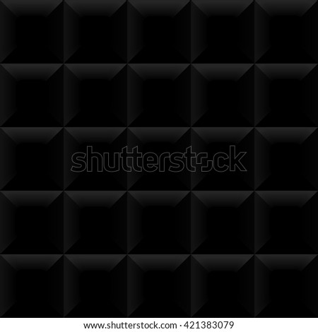 Vector black tile pattern panel background. Seamless geometric twisted design. 3D texture interior wall panel for graphic or website template layout. - stock vector