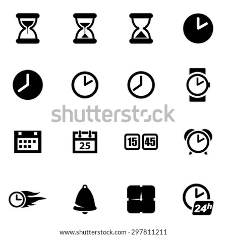 Vector black time icon set. Time Icon Object, Time Icon Picture, Time Icon Image, Time Icon Graphic, Time Icon JPG, Time Icon EPS, Time Icon AI - stock vector - stock vector