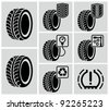 Vector black tire icons. - stock vector