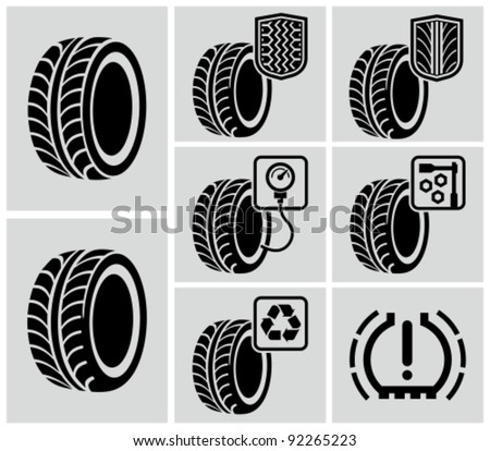 Vector black tire icons. - stock vector