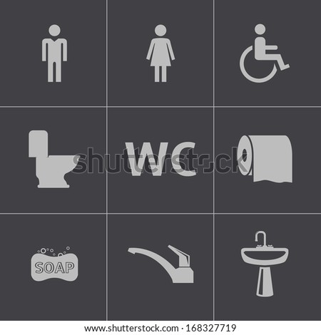 Vector black toilet icons set - stock vector