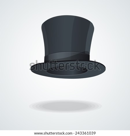 Vector Black top hat on white background. - stock vector