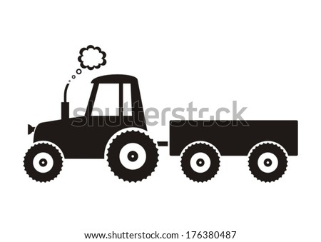 Vector Black Tractor Icon On White 176380487