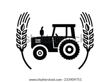 vector black Tractor icon on white background - stock vector