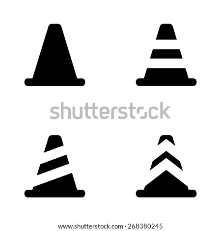 Vector black traffic cone icons set - stock vector