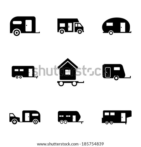 Vector black trailer icons set on white background - stock vector