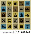 vector black transportation icon set on color - stock vector
