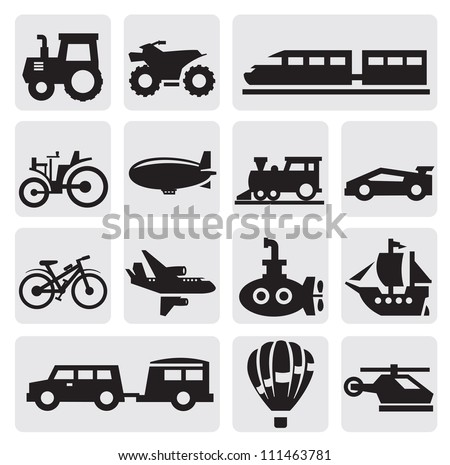 Vector black transportation icons set on gray - stock vector