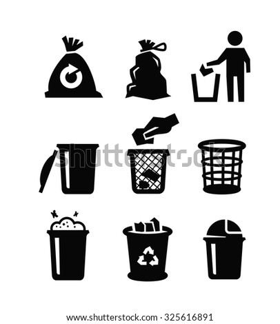 vector black trash can icon on white background - stock vector