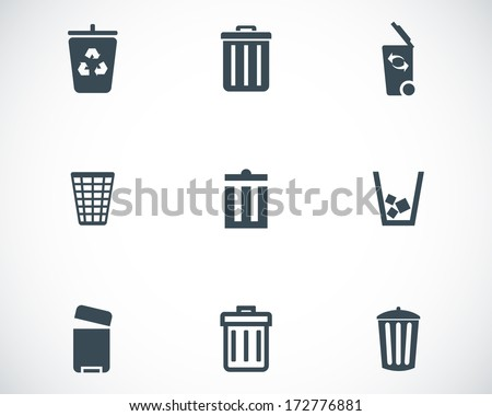 Vector black trash can icons set on white background - stock vector