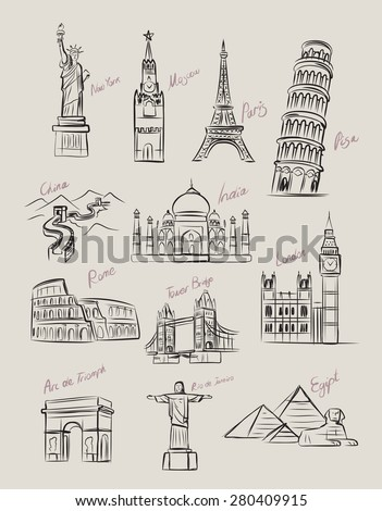 vector black travel icon set on gray - stock vector