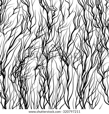 Vector Black Trees on White  Background. Natural Pattern - stock vector