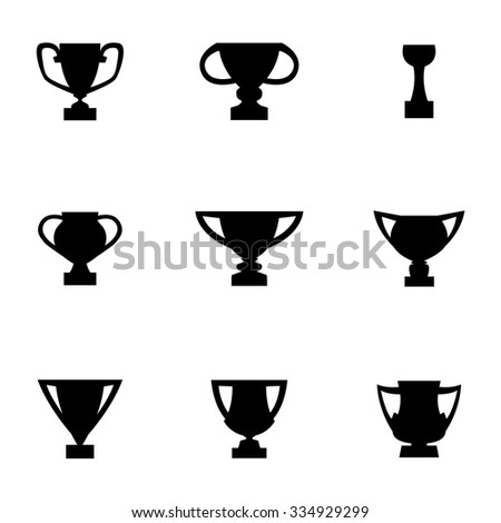 Vector black trophy icon set.