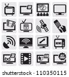 vector black TV technology icons set on gray - stock vector