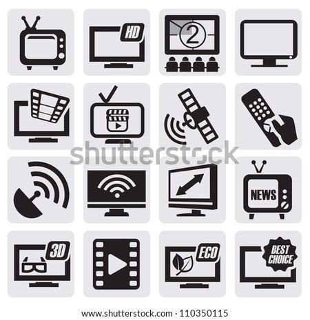 vector black TV technology icons set on gray - stock vector
