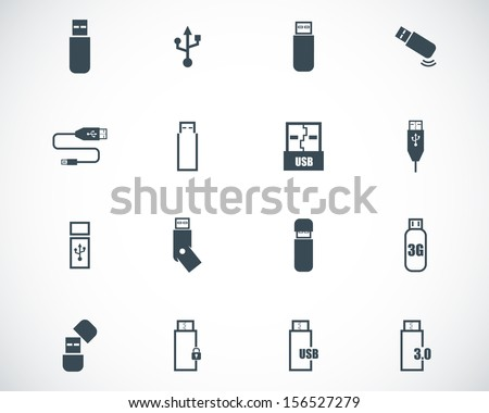 Vector black  usb  icons set - stock vector