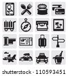 vector black vacation travel icon set on gray - stock vector
