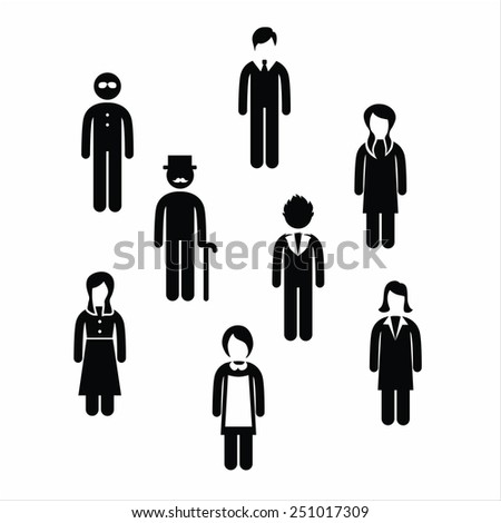 Vector black variety people icons set