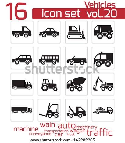 Vector black vehicle icon set - stock vector