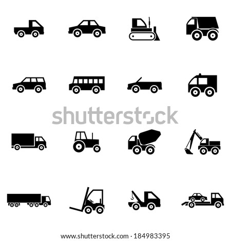 Vector black  vehicle icons set on white background - stock vector