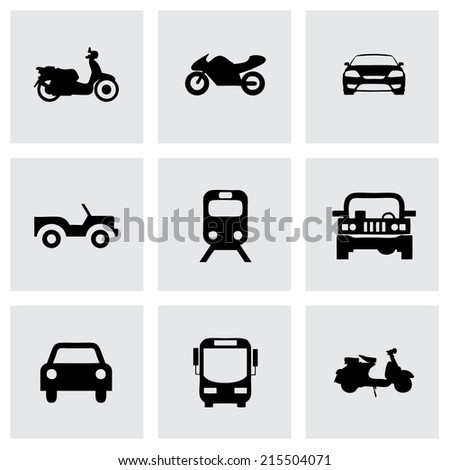 Vector black vehicles icons set on grey background - stock vector