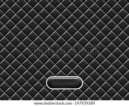 Vector black vinyl upholstery padded glossy background - stock vector