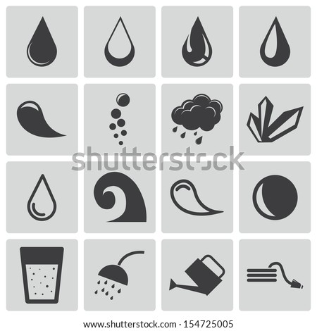 Vector black water icons set - stock vector