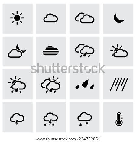 Vector black weather icon set on grey background - stock vector