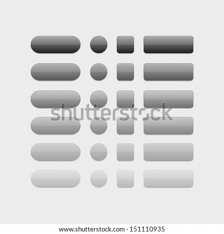 Vector black web buttons set. Glossy button icons for your design - stock vector