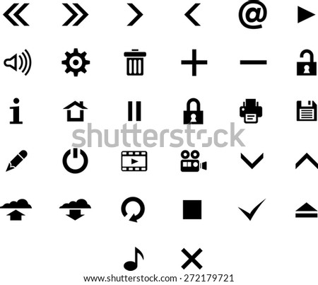 Vector black 32 web icon set. - stock vector