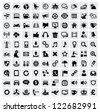 vector black 100 web icons set on gray - stock