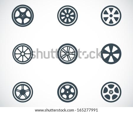 Vector black wheel disks icons set - stock vector