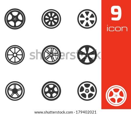 Vector black wheel disks icons set on white background - stock vector