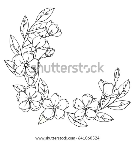 Vector black white contour simple sketch stock vector hd royalty vector black white contour simple sketch of decorative flowers and leaves wreath mightylinksfo Choice Image