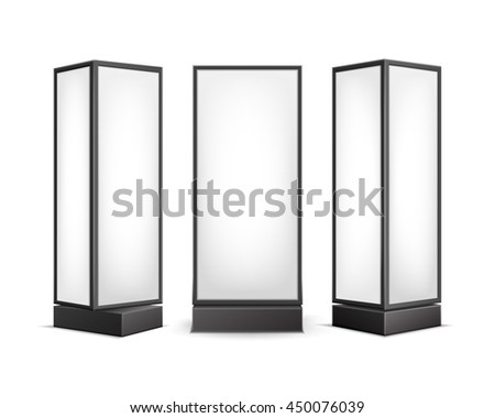 Vector Black White Luminous Rectangular Poster Stands Pillars for Indoor Advertising Front Side View Isolated on Background - stock vector
