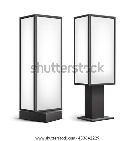 Vector Black White Luminous Rectangular Poster Stands Pillars for Indoor Advertising Side View Isolated on Background - stock vector