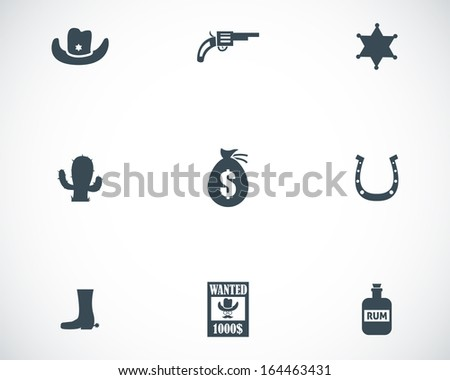 Vector black wild west icons set white background - stock vector