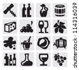 vector black wine icons set on gray - stock vector