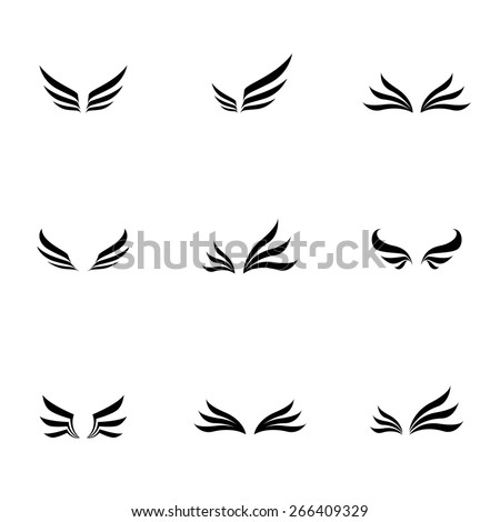 Vector black wing icons set - stock vector