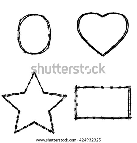 Vector black wire in various shape on white background. Set of various shapes and frames of barbed wire - square, circle, heart - stock vector