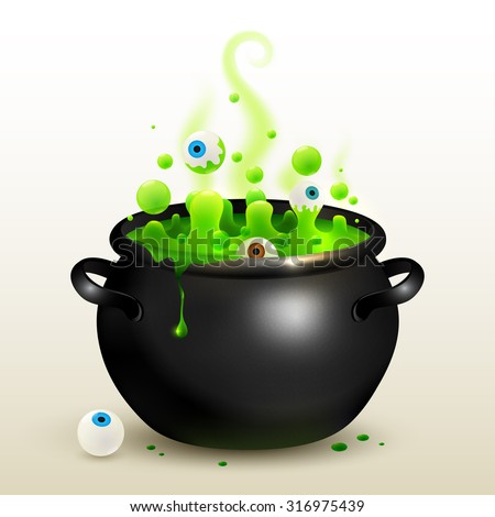 Vector black witches cauldron with green potion and eyes - stock vector