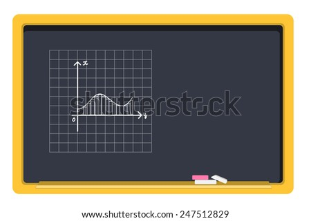 vector blackboard and chalk, drawing graphics - stock vector