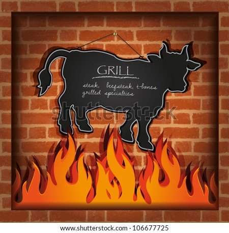 vector blackboard cow bull fireplace grill - stock vector