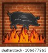 vector blackboard pig fireplace grill - stock vector