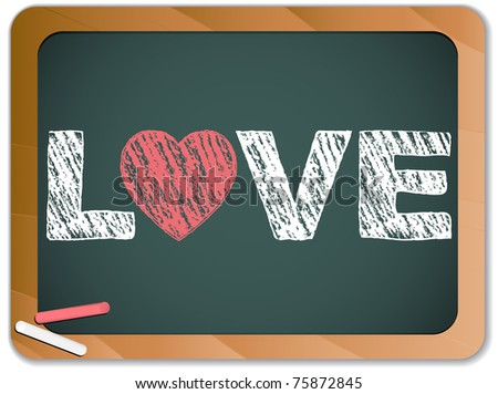 Vector - Blackboard with Love Heart Message written with Chalk - stock vector
